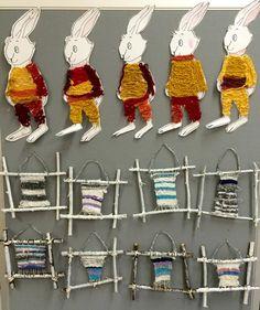 Alaskan ikävissään kutomat talviset seinäryijyt ja Ossin lämpöiset talvivaatteet (sormivirkkaus). 2.lk. (Alkuopettajat FB -sivustosta / Virpi Salo) Teaching Tools, School Projects, Textile Art, Art Lessons, Little Ones, Diy And Crafts, Crochet Earrings, Weaving, Textiles