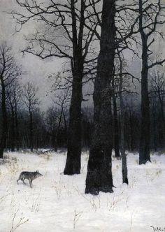 lobo en el bosque helado
