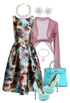"""Spring Flowers and Heels"" by hokie-engineer-grl ❤ liked on Polyvore featuring Pinko, Hermès, Chi Chi, Anne Klein, TaylorSays and contestentry"