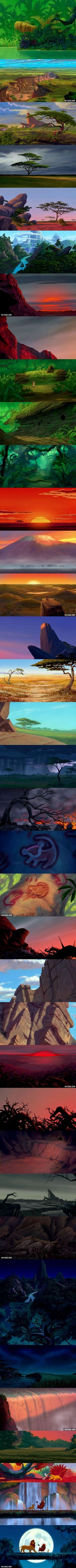 Background Art of The Lion King. I like the greenery vs. the all orangy yellowy looks.: