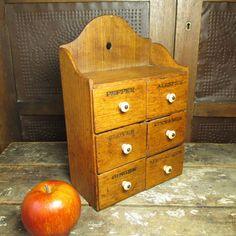 Awesome Early Old Antique 'Pure Food Co.' Six Drawer Spice Cabinet - 1800's #HannahsHouseAntiques #Primitives http://www.rubylane.com/item/497177-9305/Awesome-Early-Antique-x27Pure-Food-Co