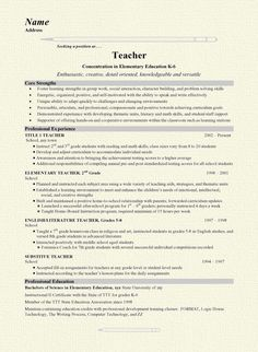 grade school teacher resume example - Sample Resume For A Teacher