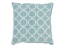 Agadir 100% Linen Cushion 50 x 50cm, Duck Egg and Teal. Designed by Niki Jones