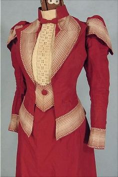 c. 1890 RARE Red Heavy Linen Summer Outing Ensemble