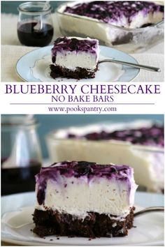 No Bake Blueberry Cheesecake Bars have a chocolate crust with a thin layer of melted chocolate in between for that something extra. Super creamy, silky smooth filling swirled with fresh blueberry sauce make these bars as pretty as they are delicious. No Bake Blueberry Cheesecake, Blueberry Recipes, Cheesecake Recipes, Blueberry Sauce, Blueberry Cream Cheese Pie, Easy Blueberry Desserts, White Chocolate Raspberry Cheesecake, Blueberry Chocolate, Dessert Simple