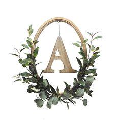 Initial Wreath, Wood Wreath, Greenery Wreath, Letter Wreath, Wreath Crafts, Diy Wreath, Wreath Ideas, Mesh Wreaths, Quilting Hoops