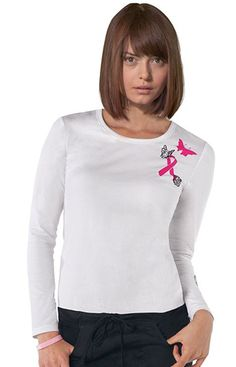 Dickies #BreastCancerAwareness Women's Crew Neck Screeprinted Long Sleeve Tee - 95% Cotton, 5% Spandex Jersey Knit #Scrubs | allheart.com