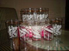 Vintage Set of Thistle and Wheat Pattern Federal Glasses Tumblers