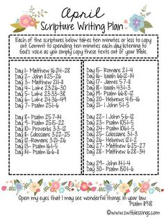 April Scripture Writing Plan ~ http://www.southernplate.com