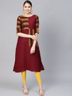 Maroon and yellow woven design A-line kurta, has a round neck, short sleeves, flared hem, side slits