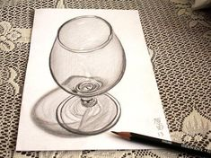 illusions drawings a glass of brandy .Skilled artists already able to create detailed images pencil, but when a person reaches this skill in perspective and three-dimensional space, his art - both literally and figur 3d Pencil Drawings, 3d Art Drawing, Graphite Drawings, Realistic Drawings, Drawing Skills, Pencil Art, Painting & Drawing, Sketch Drawing, Drawing Ideas