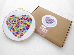 Beginner Embroidery Kit, DIY Valentines Gift, Geometric Heart Hoop Art, Easy Needlecraft Set, Starter Embroidery, Easy Needlework, LGBT Gift #hygge #embroidery #hoopart #handmade #etsy #needlework #crafts #relax #mindfulness #giftideas #giftforher #crafting #needlecraft