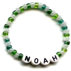 Hey, I found this really awesome Etsy listing at https://www.etsy.com/listing/87036922/custom-beaded-name-bracelet-green-and