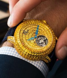For the Dazzling Occassion The very impressive Caviar Tourbillon. 418 invisibly set Yellow Sapphires adorn this crazy piece For the Dazzling Occassion The very impressive Caviar To Vintage Watches For Men, Luxury Watches For Men, Patek Philippe, Cool Watches, Rolex Watches, Cartier, Expensive Watches, Beautiful Watches, Devon