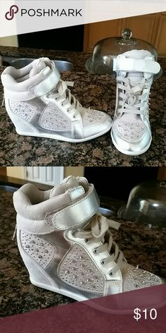 Wedge sneakers Silver spike wedge sneakers Shoes Sneakers