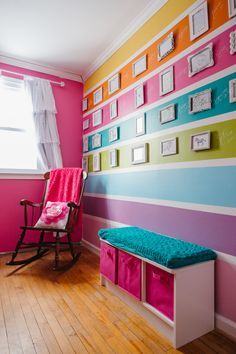 Rainbow decor is a great idea for a baby's room. Infants can only see bright colors when they are newly born. Using a neutral hard wood floor makes the rest of the room pop! Hardwood flooring available at Express Flooring in Phoenix, Arizona.