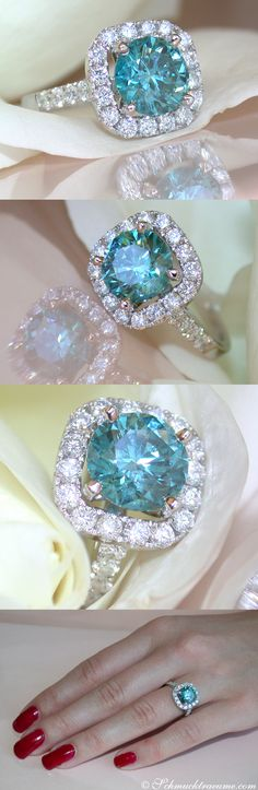 Luxury: Blue Diamond Solitaire Ring, 3,05 cts. WG14K - Visit: schmucktraeume.com - Like: https://www.facebook.com/pages/Noble-Juwelen/150871984924926 - Mail: info@schmucktraeume.com