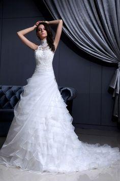 High Neck Lace Beading Chapel A-Line Bridal Gown Wedding Dress [WBCD1640]- US$ 243.32 - PersunDresses.com