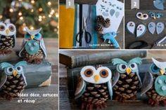 Fabriquer une chouette avec une pomme de pin Creative Activities, Craft Activities, Christmas Diy, Xmas, Christmas Ornaments, Felt Crafts, Diy And Crafts, Diy For Kids, Crafts For Kids