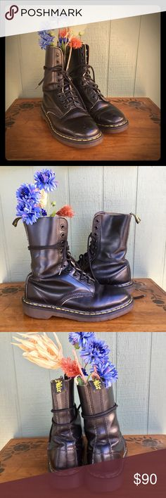 """Original Vintage """"Made In England"""" Dr. Martens Vintage pair of Dr. Martens 1490's (10hole) in smooth black. In great shape. Insole inserts are gone, but easily fixed. Stamp on the insole says """"3"""" which size 3 UK would be women's size 5.  They're obviously broken in and worn in that perfect way. Any question, let me know. Dr. Martens Shoes Combat & Moto Boots"""