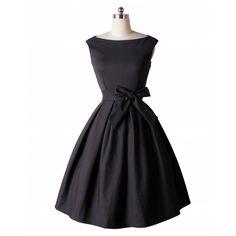 LANLAN Red Black Audrey Hepburn Style 50s rockabilly Dress 2016 New Summer Dress Sleeveless Bow