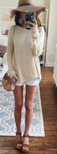 #summer #fashion #outfits | Beige Comfy Knit + White Shorts