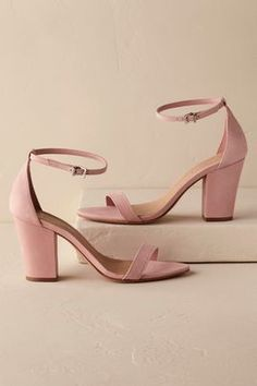 Blush thick heel bridal heels BHLDN