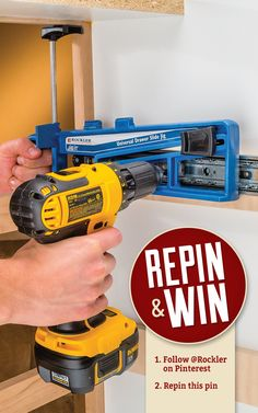 Repin & Win by Rockler.com. Follow Rockler on Pinterest and repin this pin, and you are automatically entered to win a Universal Drawer Slide Jig. Contest ends 4/10/15. #pinittowinit #woodworking