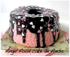 Angel food cake de fresa