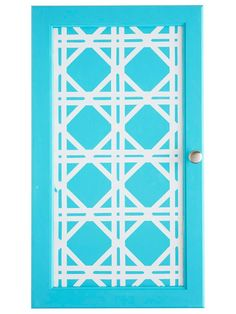 Kitchen Cabinet Makeover: Lattice-Patterned Cabinets;1. Base-coat the cabinet with white paint. Let dry.    2. Using electrical tape, create a lattice design. Start with the vertical and horizontal lines, then intersect with diagonals as shown.     3. Paint the cabinet door your desired color.     4. When dry, carefully peel back the electrical tape.