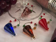 Murano art collection Martini design wine charms set