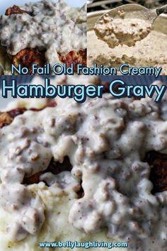 Sauce Hamburger, Hamburger Dishes, Hamburger Meat Recipes, Beef Dishes, Sos Recipe Ground Beef, Ground Beef Recipes, Beef Gravy Recipe, Best Hamburger Gravy Recipe, Steaks