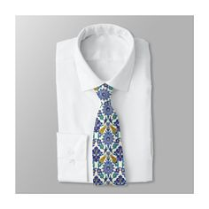 Monogram Azulejo Ceramic Style Vintage Ornament Neck Tie (£34) ❤ liked on Polyvore featuring home, home decor, vintage home decor, vintage home accessories, floral home decor, ceramic home decor and personalized home decor