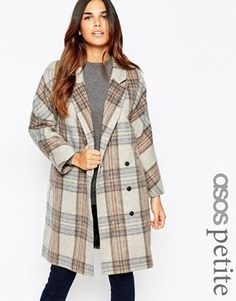 ASOS PETITE Coat in Oversized Fit in Heritage Check