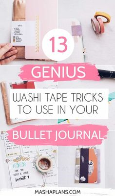 Washi tape isn't just pretty, but also very functional. Check these 13 easy but useful washi tape trick to improve your Bullet Journal. Get more creative with your setups and start using that beautiful washi tape stash you have in your stationery trolley. Bullet Journal Inspo, Bullet Journal Washi Tape, How To Bullet Journal, Bullet Journal Printables, Bullet Journal Junkies, Journal Template, Bullet Journal Spread, Bullet Journal Ideas Pages, Bullet Journal Layout