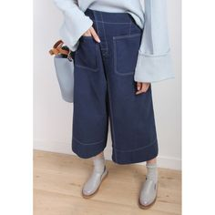 Contrast Stitch Wide Leg Canvas Trousers