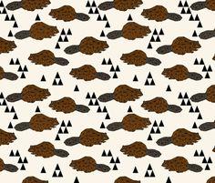 Geo Beaver - Brown by Andrea Lauren fabric by andrea_lauren on Spoonflower - custom fabric