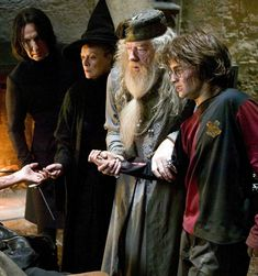 Severus Snape, Minerva McGonagall, Albus Dumbledore and Harry Potter