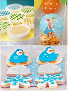 Kids' Winter Birthday Party Ideas: A Penguin Frozen Igloo Birthday Party by Bird's Party Penguin Birthday, Penguin Party, Baby 1st Birthday, Birthday Ideas, Winter Birthday Parties, Holiday Parties, Kid Parties, Creative Party Ideas, Snowflake Cookies