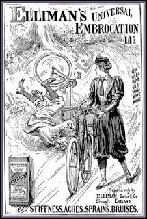 1897 advertisement for Ellimans Universal Embrocation. Image taken from here, an interesting post on women and cycling during the Victorian era. Vintage Ephemera, Vintage Ads, Vintage Posters, Vintage Travel, Vintage Style, Vintage Cycles, Vintage Bikes, Bmx, Antique Bicycles