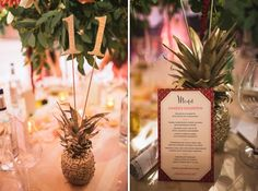 gold spray painted pineapple table numbers