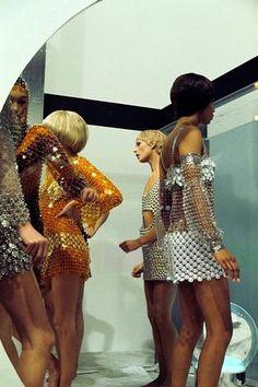 "my-retro-vintage: "" Models concerning dresses Paco Rabanne the set 'DIM DAM DOM', TV show in Paris 1969 "" Disco Fashion, Mod Fashion, Fashion Moda, 1960s Fashion, Runway Fashion, High Fashion, Fashion Show, Vintage Fashion, Fashion Design"
