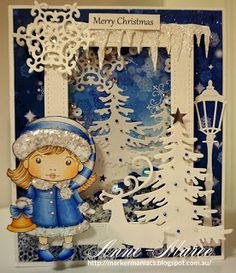 From our Design Team! Card by Anne-Maree Campbell featuring Christmas Bell Marci and these Dies - Lamp Post ,Large Snowflakes 2 (set of 2), Icicles Border, Three Christmas Trees, Build-a-Frame Stitched Large, Christmas Tree, Reindeer 2  :-)  Shop for our products here - shop.lalalandcrafts.com Coloring details and more Design Team inspiration here - http://lalalandcrafts.blogspot.ie/2016/08/inspiration-monday-blue-and-white.html