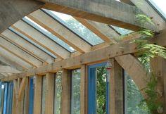 Glazed oak extension to Dorset barn conversion