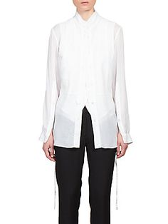 Ann Demeulemeester Triple-Layer Mandarin Blouse Ann Demeulemeester, Saks Fifth Avenue, Layers, Blouse, Shopping, Tops, Women, Style, Fashion