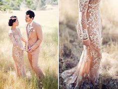Nude/champagne wedding dress. The Wedding Scoop Spotlight: Coloured and Non-white Wedding Dresses
