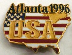 Atlanta 1996 USA Olympics Pin Lapel Pin Button Pinback Usa Olympics, Pin Button, Lapel Pins, Atlanta, Buttons, Ebay, Badges, Plugs