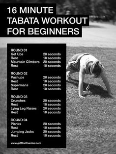16-minute full body Tabata routine for beginners. Nice for my class to begin with