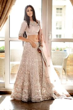 Lehenga Choli in lace fabric.