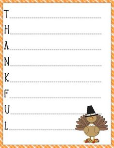 Foster student creativity by writing acrostic poetry about what they are thankful for at Thanksgiving! Start each line of the poem with the letter printed. Single words, short phrases or descriptive sentences can be used by your students to create a Halloween feel! Print in color or black and white to decorate a bulletin board, hallway or create a class book. Graphics courtesty of mycutegraphics.com.